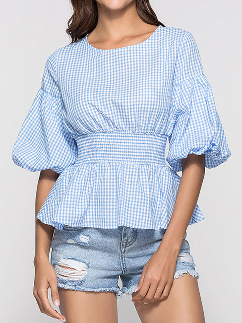 Plaid Balloon Sleeve Shirts & Tops