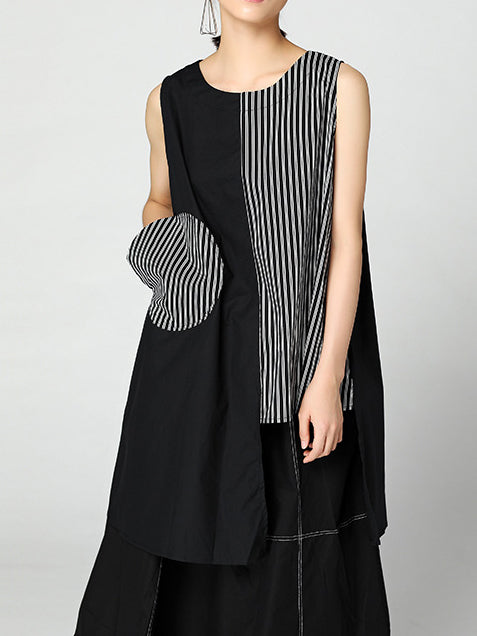 Striped Crew Neck Sleeveless Outerwear