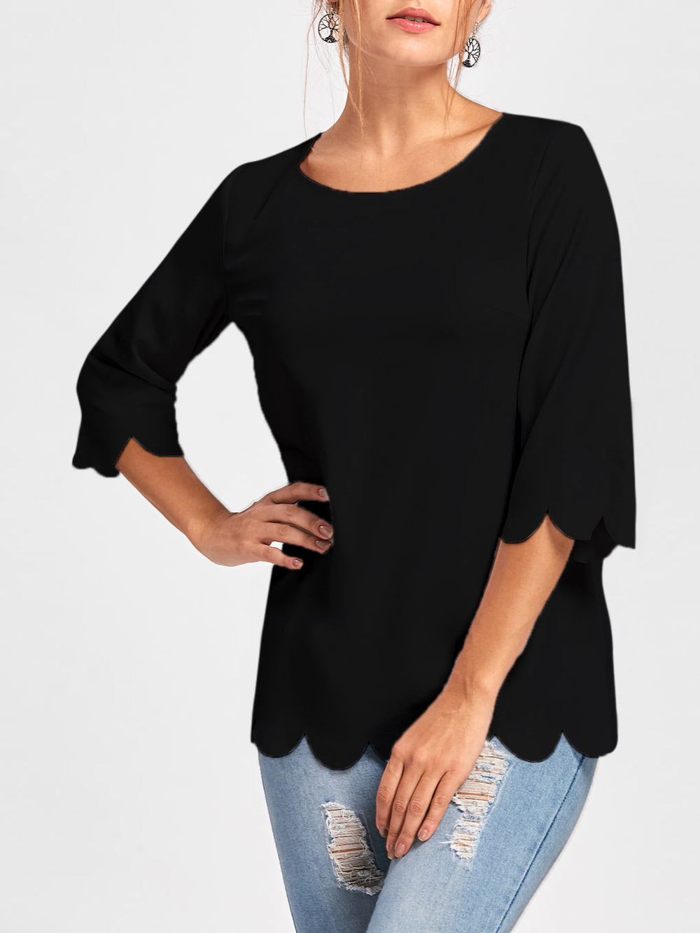 Crew Neck Half Sleeve Solid Shirts & Tops