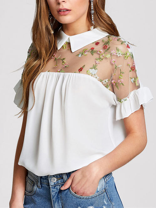 White Mesh Floral Short Sleeve Shirts & Tops