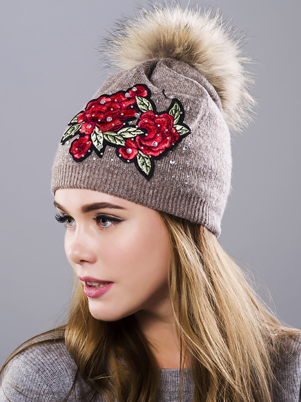 Embroidered Casual Knitted Beaded Hats