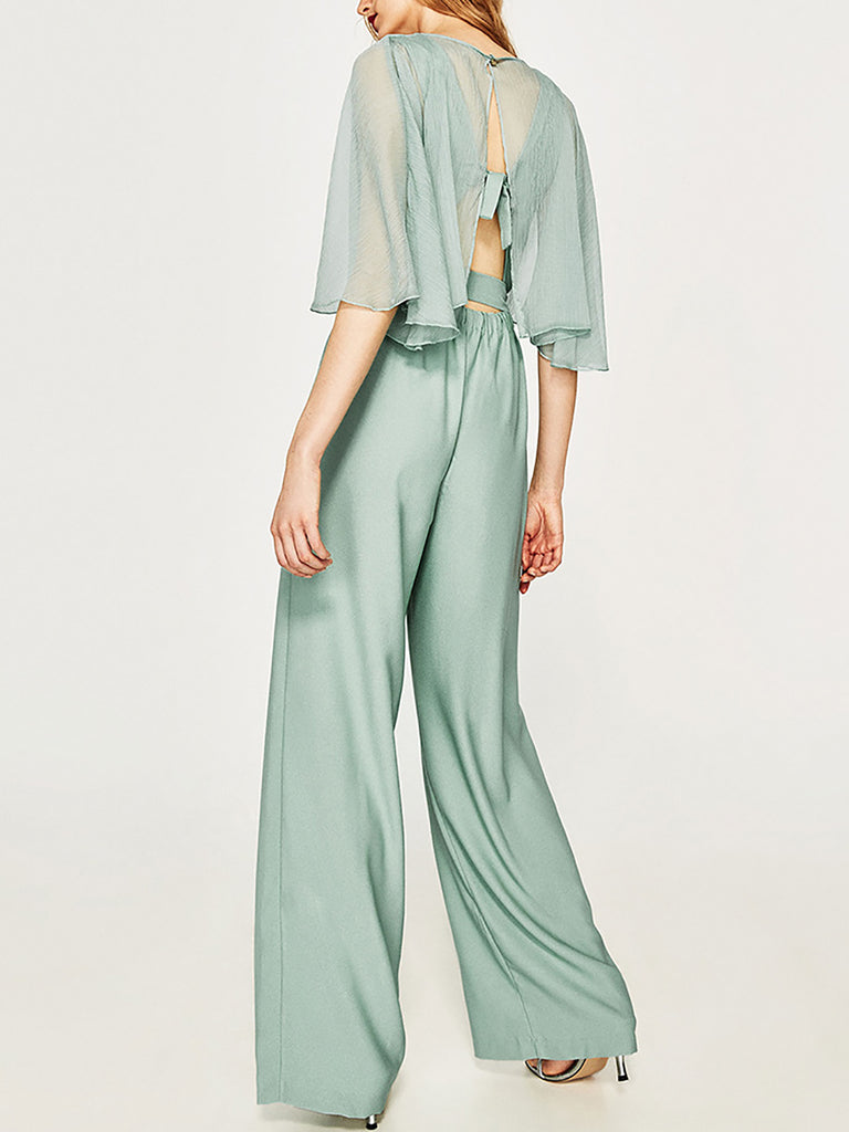 Green V Neck Elegant See-Through Look Solid Jumpsuit