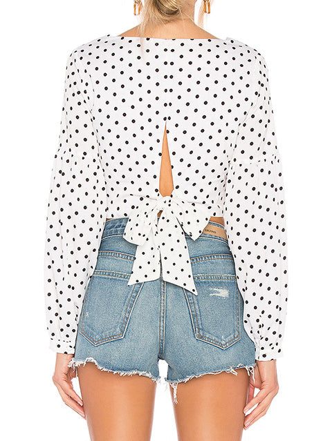 White Long Sleeve Crew Neck Polka Dots Shirts & Tops