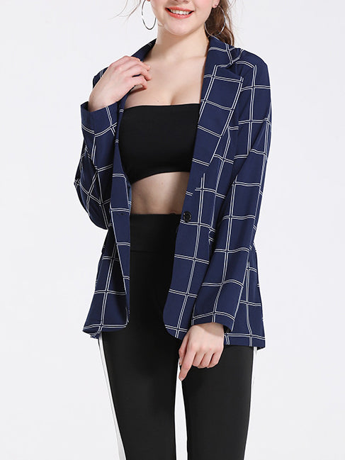 Black Plaid Long Sleeve Working Outerwear