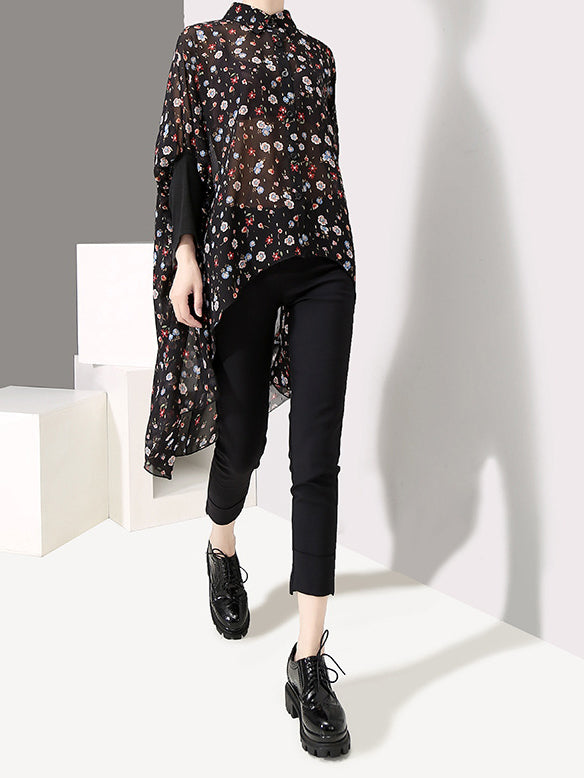 Chiffon Casual Shirt Collar Shirts & Tops