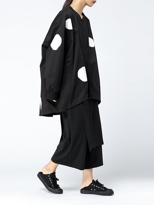 Long Sleeve Crew Neck Casual Polka Dots Outerwear