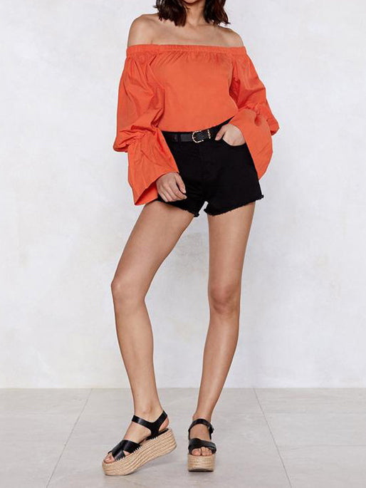 Orange Solid Casual Off Shoulder Shirts & Tops