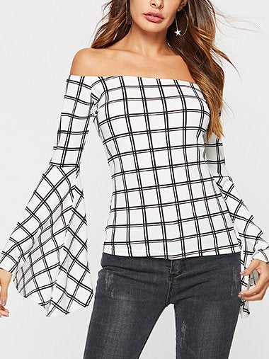 Sexy Off Shoulder Plaid Shirts & Tops