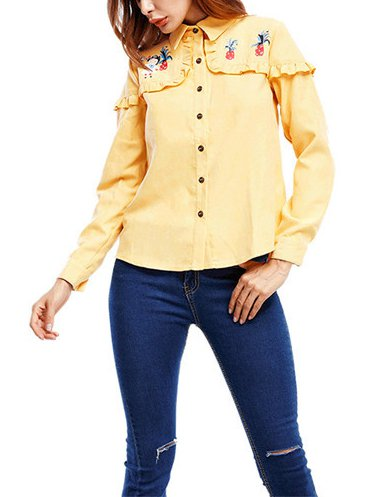 Long Sleeve Cotton Sweet & Cute Flounce Shirts & Tops