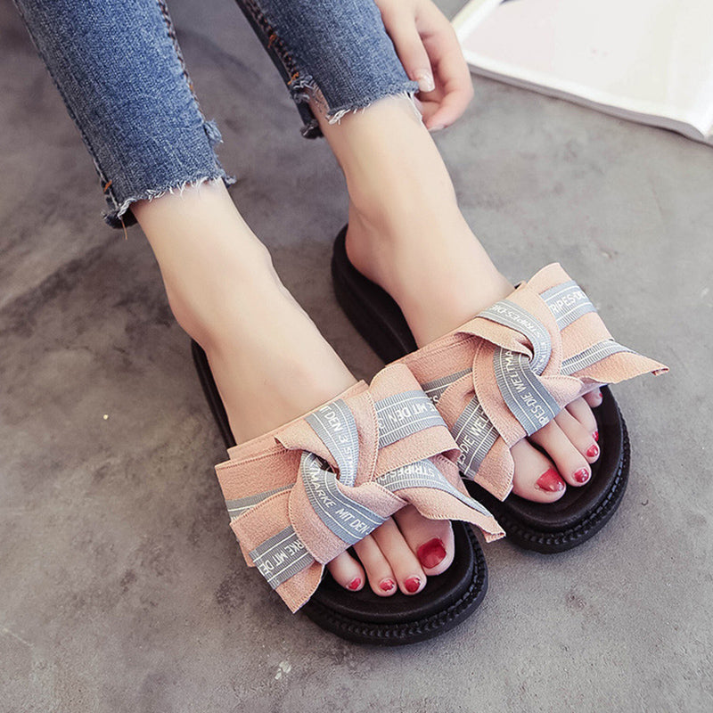 Casual Bowknot Platform Slippers