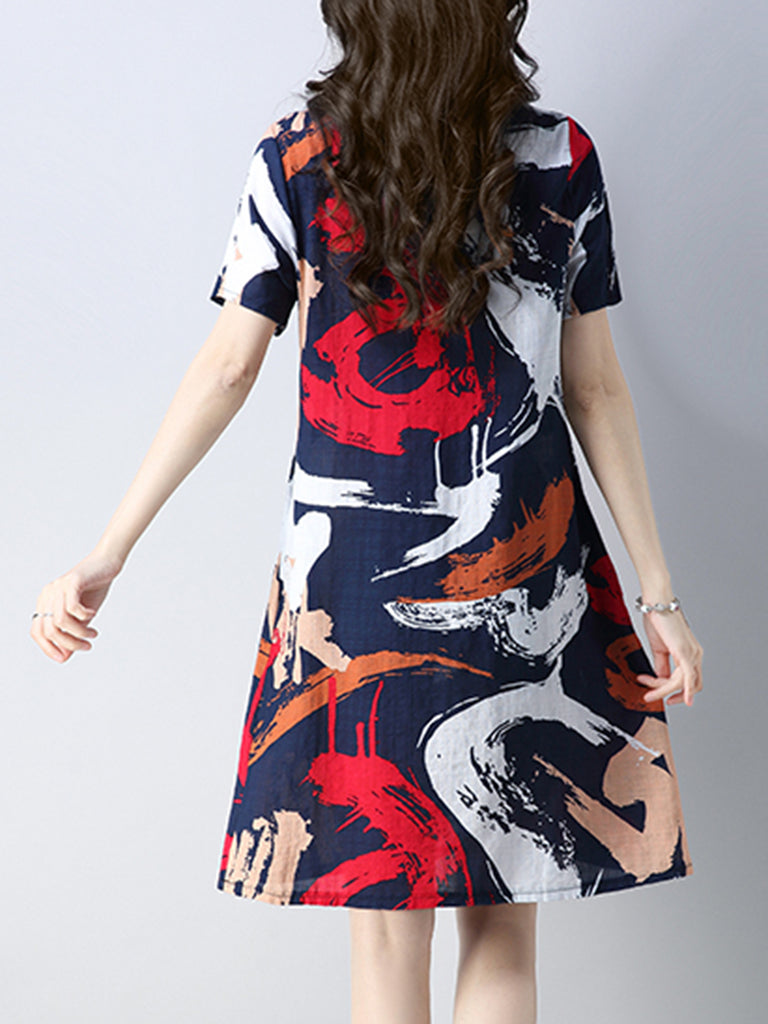 Navy Blue Short Sleeve Linen Abstract Pockets  Dress