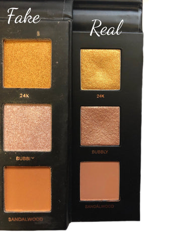 eyeshadow pans comparison huda rose gold remastered real vs fake