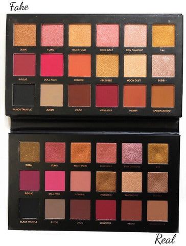 comparison in textures Huda Rose gold remastered real vs fake