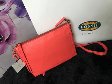 Fossil Crossbody Handbag - Peach Single Zip - mystic-beauty-international-make-up-store