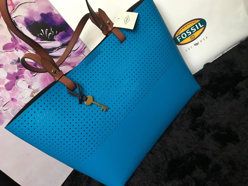 Authentic Fossil Handbag in Blue -Genuine Leather-Mystic Beauty SA online Store