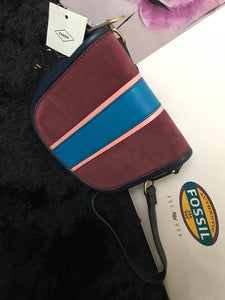 Fossil Crossbody Handbag - Navy & Maroon - mystic-beauty-international-make-up-store