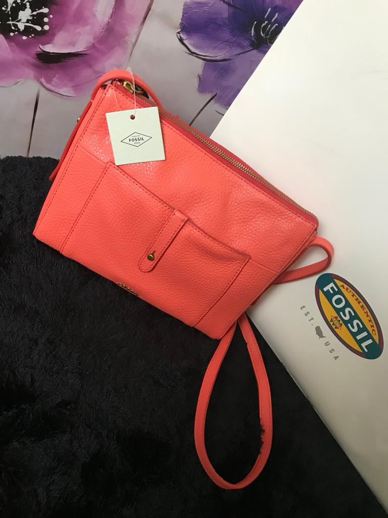 Fossil Crossbody Handbag - Peach Button Detail - mystic-beauty-international-make-up-store
