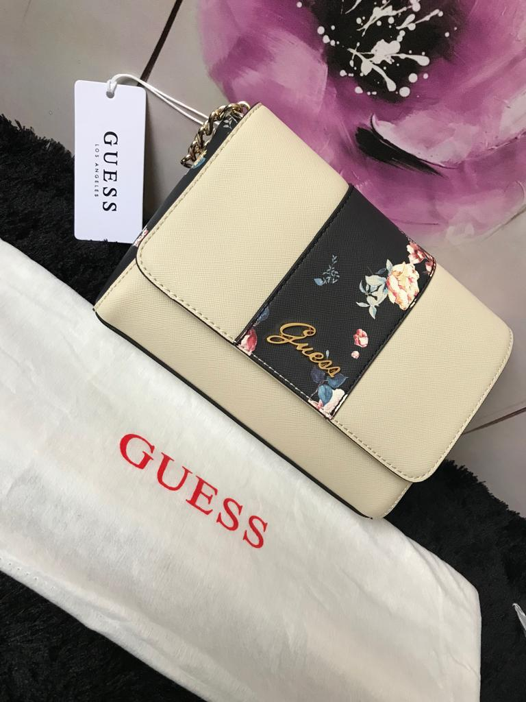 Guess Handbag - Cream Flowery - mystic-beauty-international-make-up-store