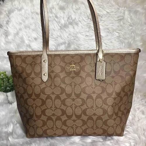 COACH signature coated canvas handbag in light brown with gold trimming - mystic-beauty-international-make-up-store