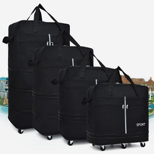 Foldable Luggage Rolling Suitcase With Silent Back