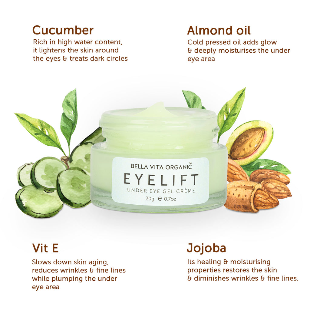 Bella Vita Organic EyeLift Under Eye Gel Cream for Dark Circles, Puffy Eyes & Wrinkles