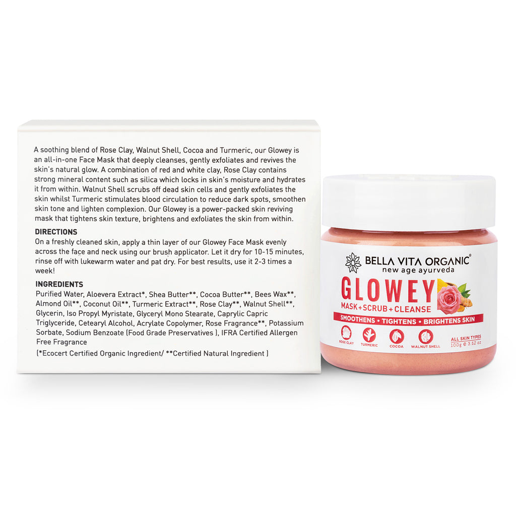 Glowey Face Pack, Scrub & Face Wash 3 in 1 for Glowing Skin & Radiance Unisex Ayurveda, 100 g With Free Face Pack Applicator Brush