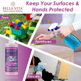 Bella Vita Organic Spray Safe Sanitizing Disinfectant For Germs And Virus-Free Hands & Surfaces, 550ml