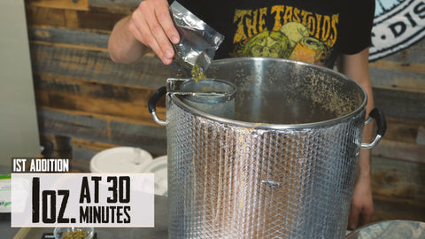 adding the first hop addition to the boil