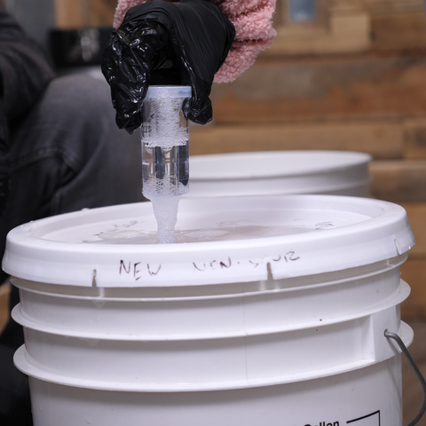inserting an airlock into our fermenter