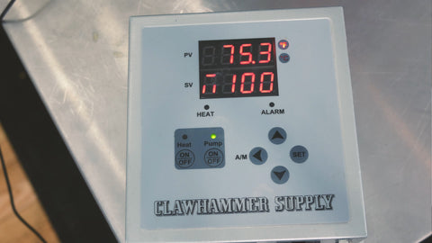 digital brewing controller showing that our wort is chilled to 75 degrees F