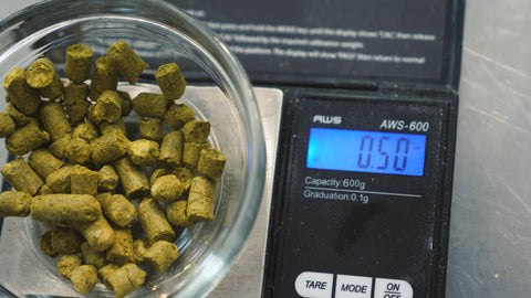 .5 ounce of citra hops weighed out