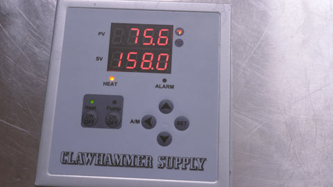 digital brewing controller set to 158 degrees