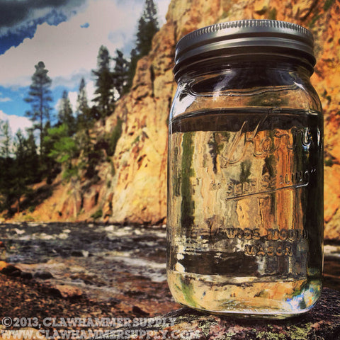 Moonshine jar on a camping trip