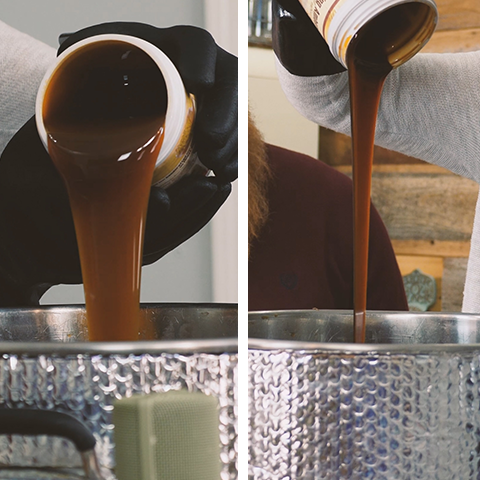 pouring malt extracts