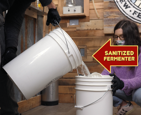 dumping our sani solution out of our fermenter