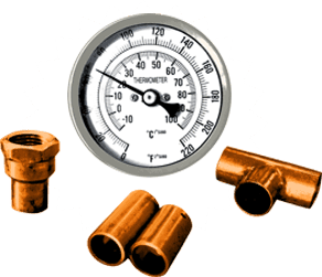 Copper Column Thermometer & Copper Fitting Combo