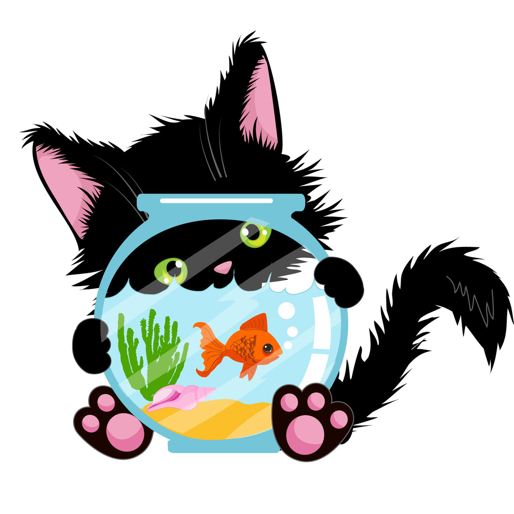 Kitten with Fishbowl