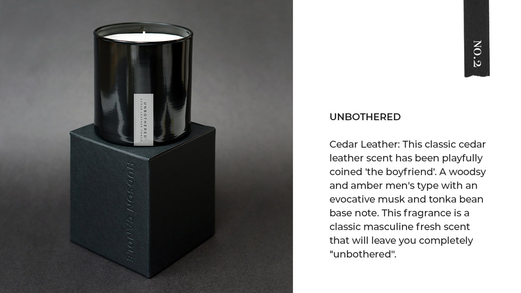 Hudson Candle Unbothered Cedar Leather Candle Fathers Day Gift