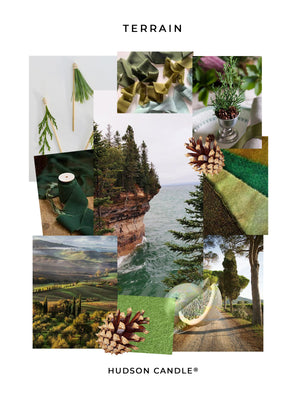 Load image into Gallery viewer, Terrain - HUDSON CANDLE® Pine Grapefruit Balsam Citrus Spruce Fir Holiday Gift Candle Mood Board