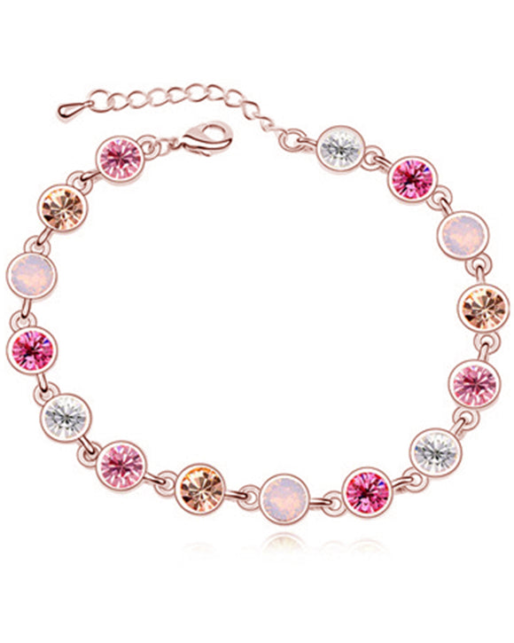 Btime Rose Gold Round Crystal Tennis Bracelet