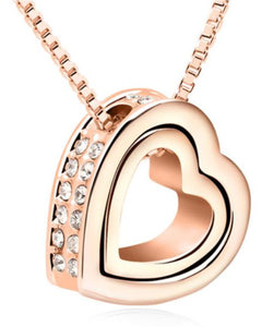 Btime Rose Gold Double Heart Pendant with Clear Crystals