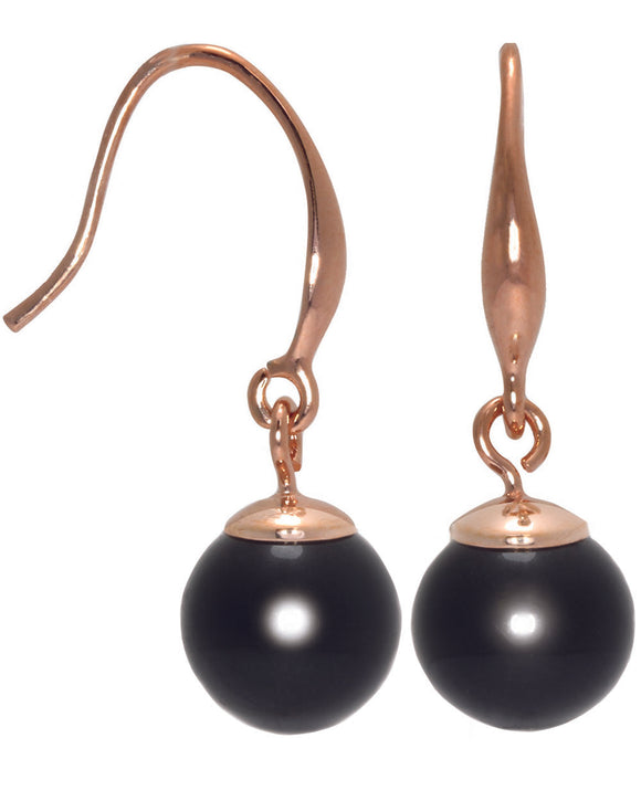 Btime Rose Gold Classic Jet Black Pearl Drop Earrings