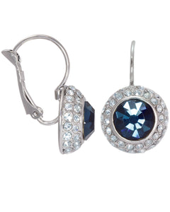 Btime London Topaz Round Drop Down Earrings With Crystal From Swarovski