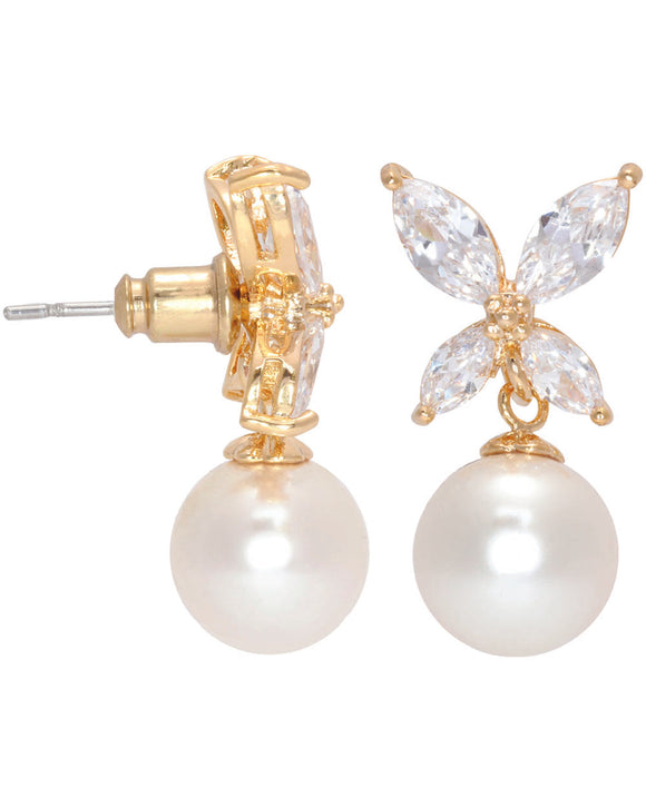 Btime Crystal & White Pearl Drop Earrings