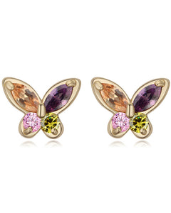 Btime Rose Gold Butterfly Crystal Earring With Austrian Crystals