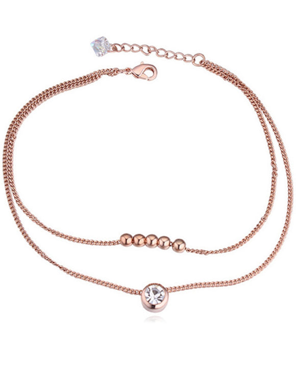 Btime Rose Gold Dainty Bracelet with Crystals from Swarovski