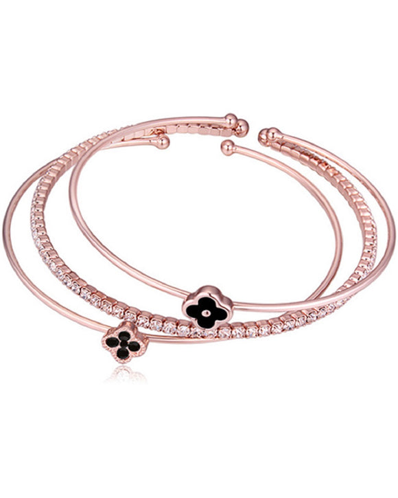 Btime Rose Gold Plated Bangle Set of 3 - Black Clover
