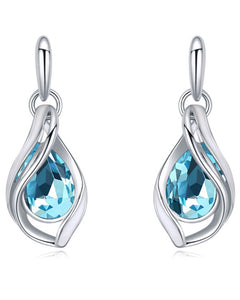 Btime Pear Shaped Topaz Drop Earrings With Crystals From Swarovski