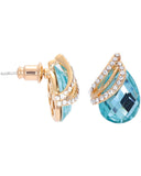Btime Rose Gold Earrings with Pear Shaped Turquoise Austrian Crystals