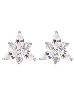 Btime Clear Crystal Lily Shape Stud Earrings
